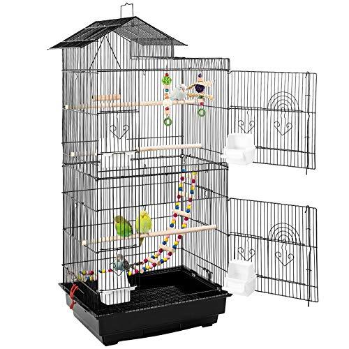 pedy Vogelkäfig mit Vogelspielzeuge Vogeltreppe aus Metall Voliere für kleine und mittlere Vögel wie Wellensittiche Kanarien Nymphensittiche Tauben