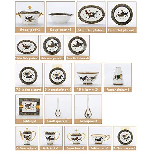YLJYJ De vajilla de cermica de Plato de Cena, 74 Piezas de vajilla de Porcelana de Lujo  Juego de vajilla de Porcelana de Alta Gama esmaltada con Olla de