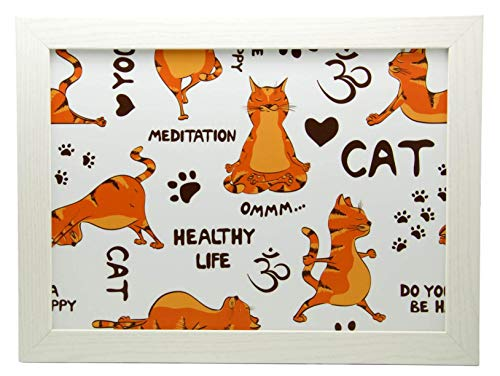 Yoga Ginger Cats Cushioned Lap Tray Laptop Tray for Bed Laptrays for TV Dinners Lap Trays for Eating with Cushion Handmade Wood Frame