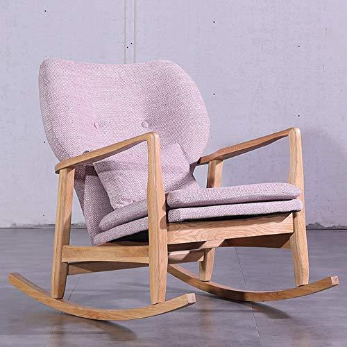 ZYX Stühle KFXL yizi Hocker, Massivholz Lounge Chair, Lazy Couch Balkon Schwangere Frau Schaukelstuhl 2 Farben optional (Farbe : Pink)