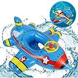 Küchenks Gonfiabile per Piscina Galleggiante, Galleggiante per Aeroplano Motoscafo Sedile per Bambini Allenatore di Nuoto per Bambini con Volante e clacson per la Festa in Acqua Estiva