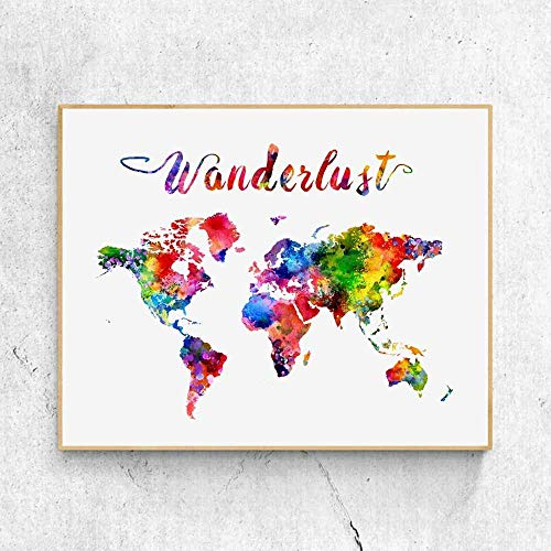 Wanderlust World Map Watercolor Art Print Travel World Traveler Poster Watercolor Map Wall Decor 8x10 Inches No Frame
