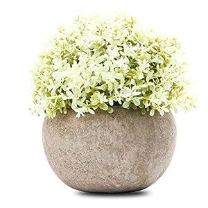 Silk Flower Arrangements Epartswide Mini Plastic Artificial Plants Grass with Pot,Plants Topiary Shrubs Fake Plants,Artificial Faux for Indoor Decorations