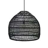 HTLLT Decorative Lighting, Bamboo Lantern Pendant Lamps, Retro Japanese Style E27 Chandelier, Hanging Lamps is Suitable for Bedrooms, Restaurants, Cafes, Clubs,Black