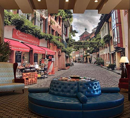 CQDSQN Sfondo Murale Autoadesiva Bella famosa street view cafe 3D PVC Adesivi murali Moderno Arte Manifesto Fotografie Film cartone animato Personaggi