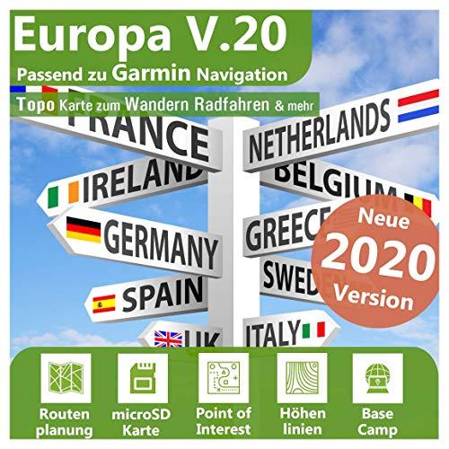 Europa V.20 - Profi Outdoor Topo Karte - Passend für Garmin Dakota 20, Edge Explore, Legend Hcx, Vista Hcx, Venture