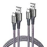 Bobeite Lot de 2 câbles USB C 3 m de long, câble de charge USB type C en nylon tressé 3 A pour...