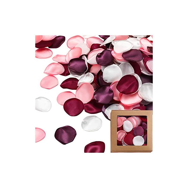 silk flower arrangements 500 pieces silk rose petals valentine's day fake rose petal artificial scatter petals wedding flower petals table centerpiece petal decoration for aisle home decor, anniversary, engagement, 4 colors