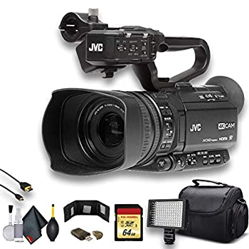 JVC GY-HM250 UHD 4K Streaming Camcorder W/ 64GB Memory Card HDMI Cable Case LED Light Cleaning Kit and More Professional Bundle