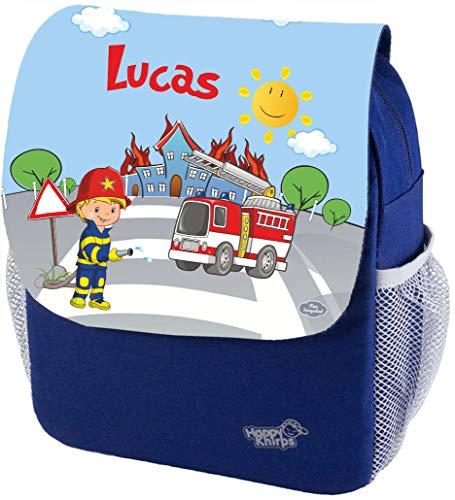 Mein Zwergenland Kindergartenrucksack Happy Knirps Next Print mit Name Feuerwehr, 6L, Blau