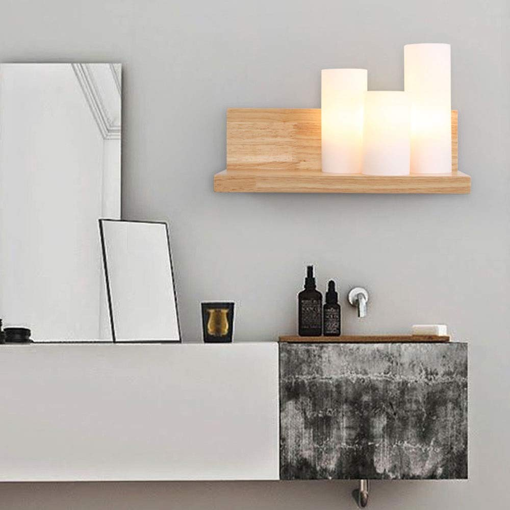 XIEJUN Aplique de Pared de Madera LED Moderna Simple con Estante Pantalla Cristal Leche Blanca Luz de Pared Escalera Art Deco Escalera Habitación Hotel Lámparas de Noche Sala Estar (Color : Wood):