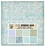 Decoupage Paper Pack (24 Sheets 16x16cm) Frosty Winter Ice Patterns FLONZ Vintage Styled Paper for...