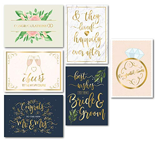 Wedding Greeting Cards - 24-Pack Wedding Congratulations Cards Bulk Gold Foil Floral Design Envelopes Included Perfect for Wedding Engagement Newlywed Bride and Groom Mr. and Mrs 5 x 7 Inches