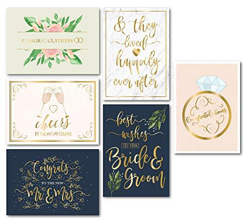 Hochzeits-Grußkarten – 24 Stück Hochzeits-Glückwunschkarten, Bulk, Goldfolie, florales Design, Umschläge, perfekt für Hochzeit, Verlobung, Braut und Bräutigam, Mr. und Mrs, 12,7 x 17,8 cm
