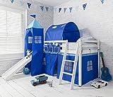 Lit cabane mi-hauteur pour enfants avec toboggan, tente, tour et tunnel bleus