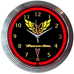 GM Trans Am Pontiac Electric Neon 15 Inch Wall Clock Glass Face Chrome Finish Warranty