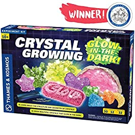 Thames & Kosmos Crystal Growing: Glow-in-The-Dark Science Kit | 12 Experiments, Ages 10+ | Learn About Crystallization | Grow Crystals & Crystal Geodes The Glow in The Dark | 32-Page Manual
