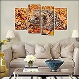 nobrand Wandkunst Leinwand Gemälde 5 Stück Tier Igel auf den gefallenen Bildern Wohnzimmer Dekor-30x60 30x80cmx2 Kein Rahmen