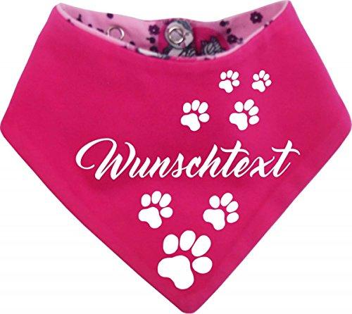 KLEINER FRATZ Hunde Wende-Halstuch EINHORNDESIGN (Fb: Uni-pink/Einhorn pink) (Gr.1 - HU 27-30 cm) mit Ihrem Wunschtext