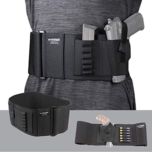 Stinger Belly Band Holster for Concealed Carry, IWB OWB Gun Holster, Breathable Fabric Comfortable Waistband Handgun Holster, Ammo Bandolier for Extra Round of Revolver Bullet (46', Left)