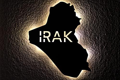 Irak personalizado con texto personalizado, LED Iraq, luz de noche para dormitorio, salón, regalo