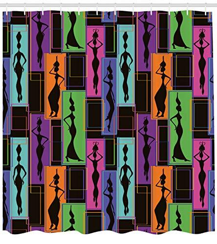 123456789 Afrikaanse vrouw douchegordijn vazen op de kop druk voor de badkamer
