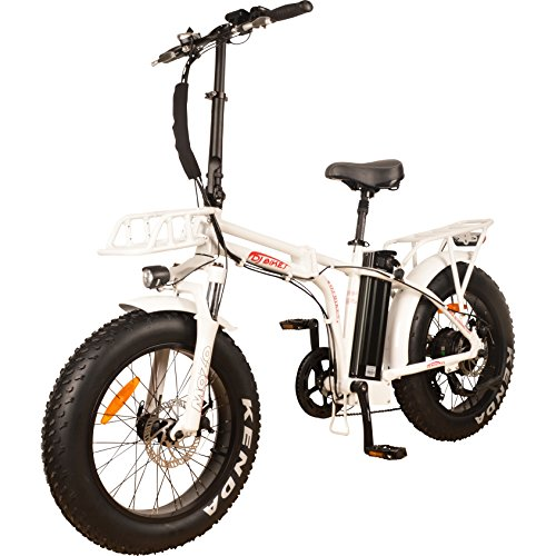 DJ Folding Bike 750W 48V 13Ah Power Electric Bicycle, Pearl White, LED Bike Light, Suspension Fork and Shimano Gear,