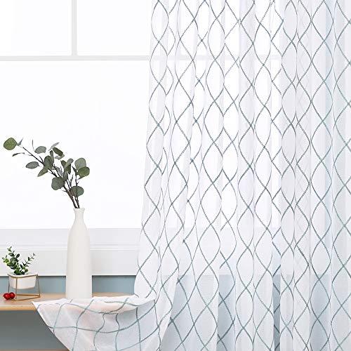 Doconovo Visillos Cocina Ventanas Efecto Lino para habitación Juvenil Niña Niño con Ojales Conjunto de 2 Paneles 140 x 175 cm Azul Verde