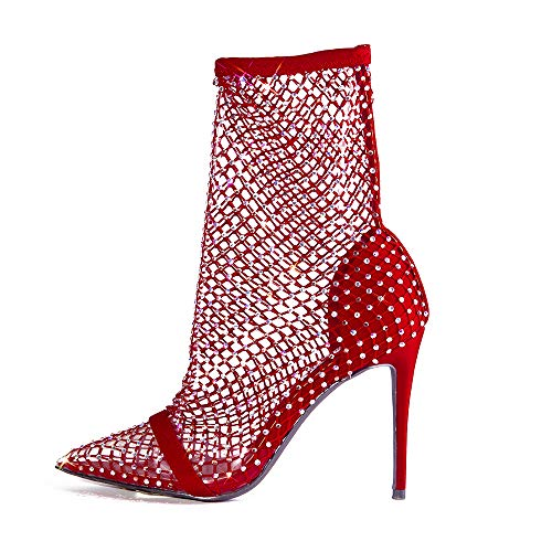 Cape Robbin Florence Stiletto High Heels for Women, Rhinestone Sparkle Fishnets - Red Size 9