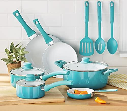 Ceramic Nonstick 12 Piece Cookware Set, Teal Ombre Pots and pans set Kitchen cookware sets Cast iron pan Cookware sets Pots and pans Nonstick pan Cast iron skillets