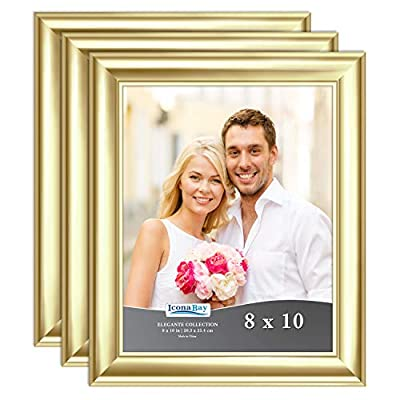 Icona Bay 8x10 Picture Frame (3 Pack, Gold), Gold Photo Frame 8 x 10, Wall Mount or Table Top, Elegante Collection