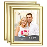 8 x 10 Picture Frames 3 Pack, Gold Photo Frames, Wall Mount Hangers, 2DAY SHIP