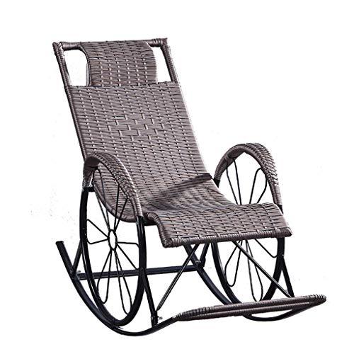 Sillas de jardín, sillón de mimbre, sillón mecedora de mimbre, sillón relajante, estructura de metal con almohada y cojín lumbar, jardín, patio, porche, cubierta de césped, muebles de patio trasero