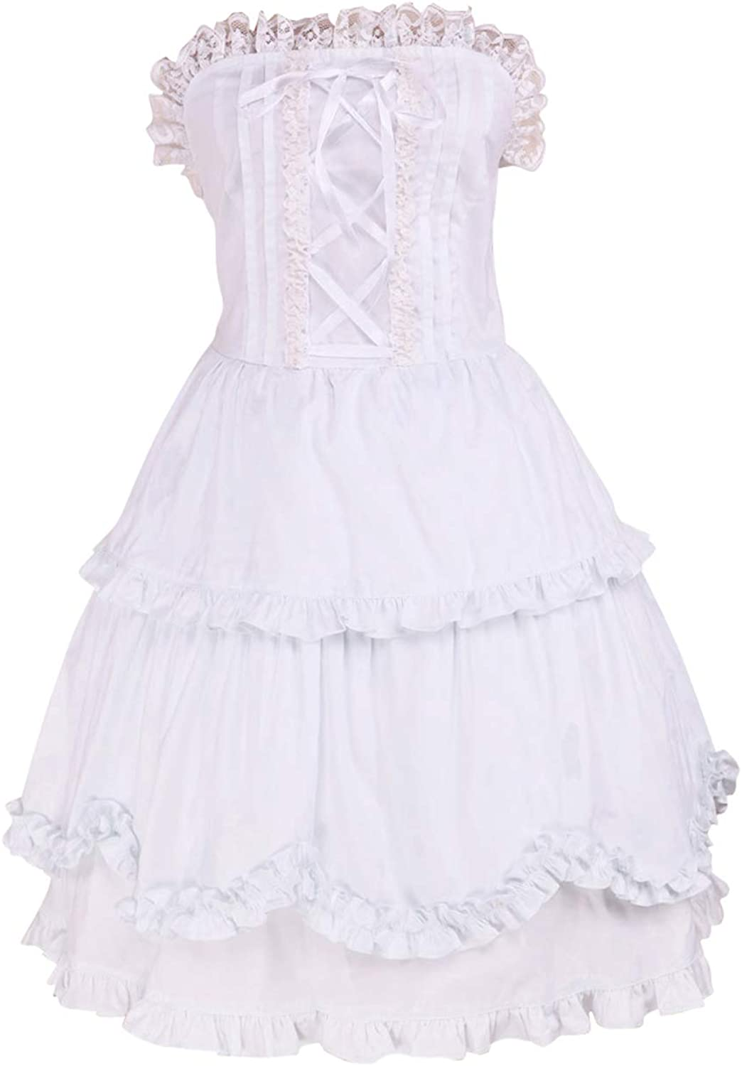 Antaina White Cotton Ruffle Lace Sexy Backless Victorian Lolita Cosplay Dress