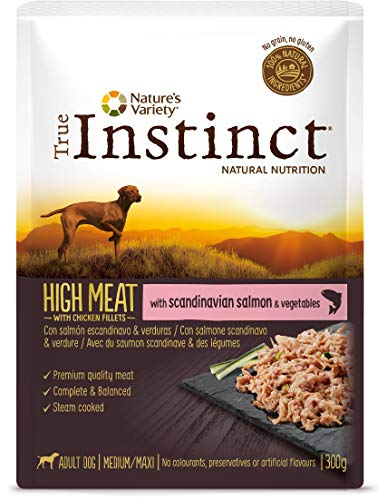 True Instinct High Meat Adult - Nature's Variety - Paté con Salmón Y Verduras Para Perros Medium Y Maxi - 8 X 300G - Total 2,4Kg