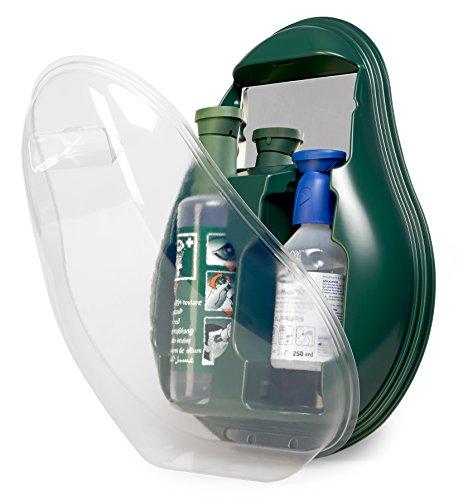 MedX5 (Upgrade 2020) Ducha ocular de emergencia, producto para el lavado de ojos con suero fisiológico (0,9%) y solución tamponada BioPhos®74, estación de lavado ocular con espejo