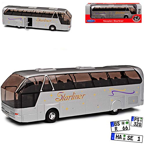 Neoplan Starliner Bus Silber 1. Generation 1996-2004 1/64 Welly Modell Auto