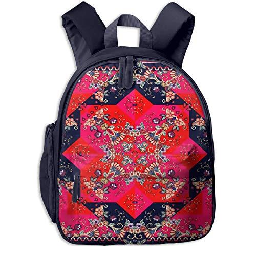 Kinderrucksack Kleinkind Jungen Mädchen Kindergartentasche Teppich schöne Blume Backpack Schultasche Rucksack