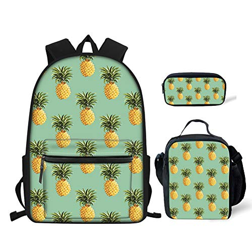 doginthehole Pineapple Backpack Bookbag 3Pcs Best Lunch Boxes for Kids Pencil Pen Holder Pouch Purse