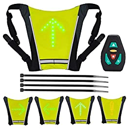 LAOYE Gilet Clignotant Vélo Gilet Signalisation Velo Gilet LED Velo Réfléchissant 4 Mode Sac à Dos de Velo Gilet LED…