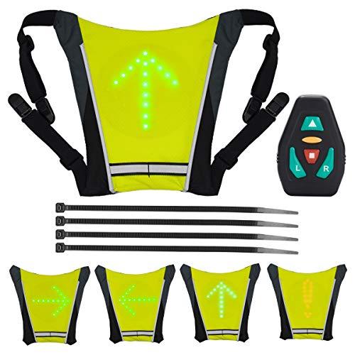 LAOYE Chaleco con Luces LED Intermitente Indicador 4 Direcciones Ajustables, Chaleco Reflectante de Seguirdad con Luz de Advertencia Nocturna en Bicicleta para Ciclismo, Control Remoto, USB Recargable