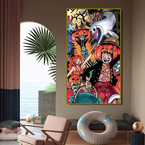 Pster de anime japons de una pieza para disfraz de Halloween, impresin en lienzo para habitacin de nios, figura de dibujos animados, pinturas decorativas, decoracin de pared, 60x100cm sin marco