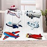 WOISUM Fleece Decke 150x200 cm Decke mit Cartoon-Flugzeug 3D Digitaldruck Kuscheldecke Flanelldecke Weich Wohndecke Büro Rest Decke Sofadecke Decke für Kinder Erwachsene Tagesdecke