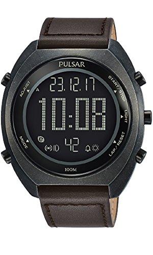 PULSAR Homme Digital Quartz Montre avec Bracelet en Cuir P5A029X1