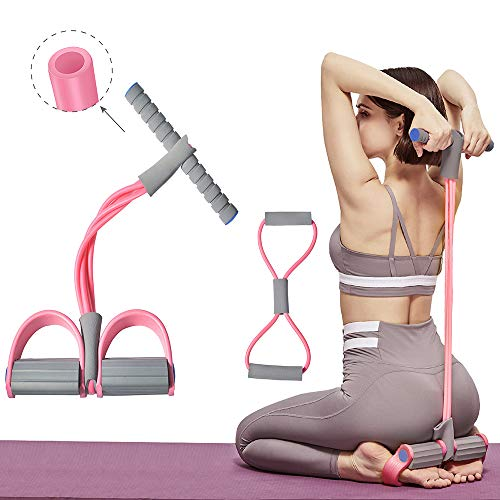 Aynone Upgrade Pedal Resistance Bands Elastic Multifunction Tension Rope Fitness 4-Tube Natural Latex Sit-up Bodybuilding Expander for Abdomen/Waist/Arm/Yoga Stretching Slimming Training(Pink)