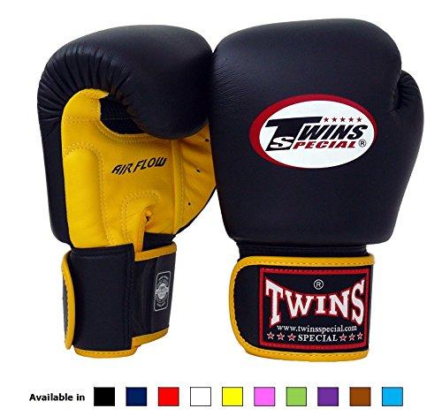 Twins Special BGVL-3 Muay-Thai-Boxhandschuhe, Gewicht 8, 10, 12, 14 oder 16Unzen, schwarz, unisex Kinder Herren damen, Air Flow -Yellow/black, 430 g