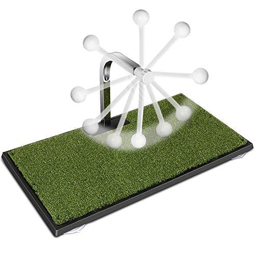 MSOAT Golf Schwungtrainer Golf Übungsmatte mit verdicktem Pad, automatischem 360 ° Ball Return, Innen- und Außenbereich, geeignet für Holzstangen, Hammerschloss, Swing Trainingshilfe