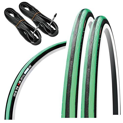 GORIX(ゴリックス) 自転車用タイヤ クロスバイク ロードバイク 他対応 [クリンチャー自転車タイヤ 2本 + チューブ 2個セット タイヤ交換] Gtoair (ミント, 23c)
