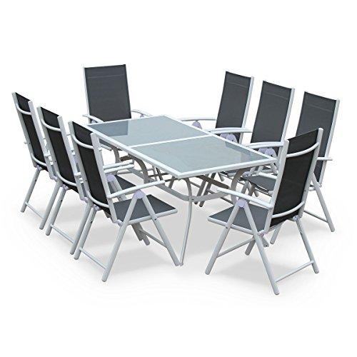 Salon de Jardin en Aluminium et textilène - Naevia - Gris, Blanc - 8 Places - 1 Grande Table rectangulaire, 8 fauteuils Pliables