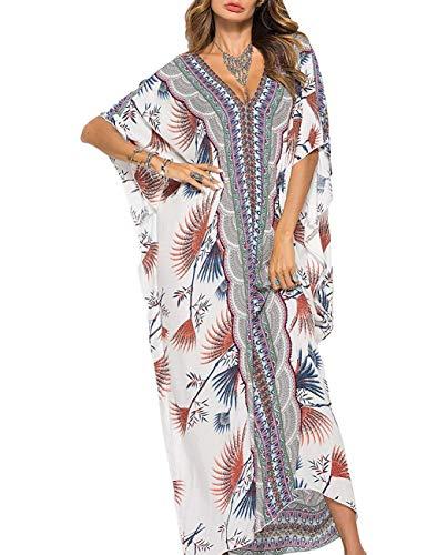 Outgoings - Vestido largo para mujer, cuello en V, casual, caftán, playa Estilo 12. Talla única